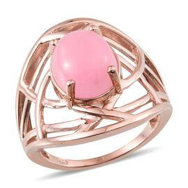 Pink Jade (Ovl) Solitaire Ring in Rose Gold Overlay Sterling Silver 5.500 Ct.