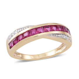 9K Y Gold Burmese Ruby (Sqr), Natural Cambodian White Zircon Ring 1.000 Ct.