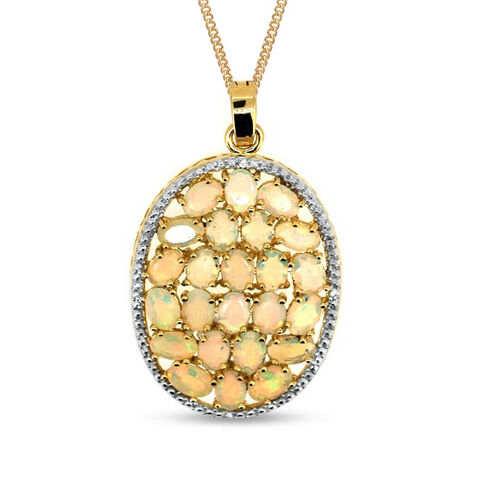 Ethiopian Welo Opal (Ovl 7.23 Ct), White Sapphire Pendant With Chain (Size 18) in 14K Gold Overlay Sterling Silver 7.250 Ct.