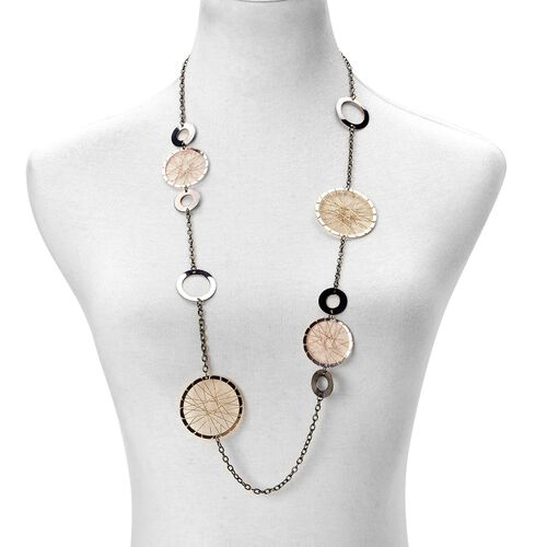 Wheel Necklace (Size 40 with 2 inch Extender) and Hook Earrings in Yellow, Black and Rose Gold Tone