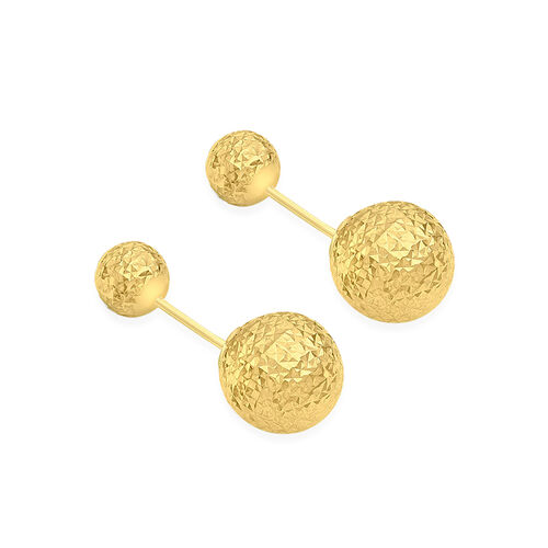 Vicenza Collection 9K Yellow Gold 6MM and 10MM Diamond Cut Ball Frock Earrings