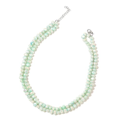Limited Edition-Fresh Water Paraiba Green Pearl Necklace (Size 18) in Rhodium Plated Sterling Silver