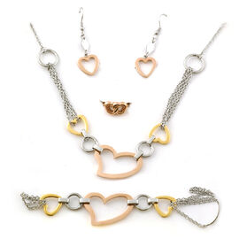 Yellow Gold Rose Gold and Silver Tone 4 Pcs Ring  Earring Bracelet and Necklace (Size 20.00) Set