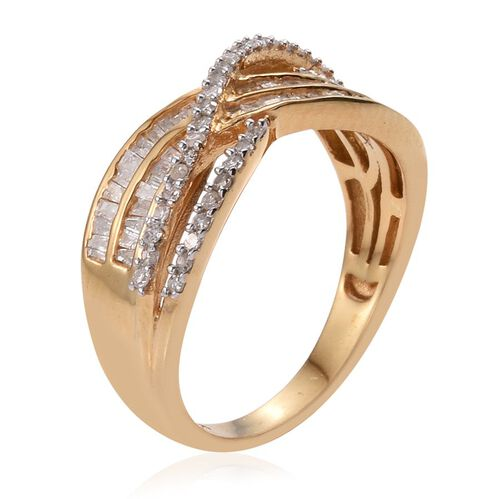 Diamond (Rnd) Criss Cross Ring in 14K Gold Overlay Sterling Silver 0.500 Ct.