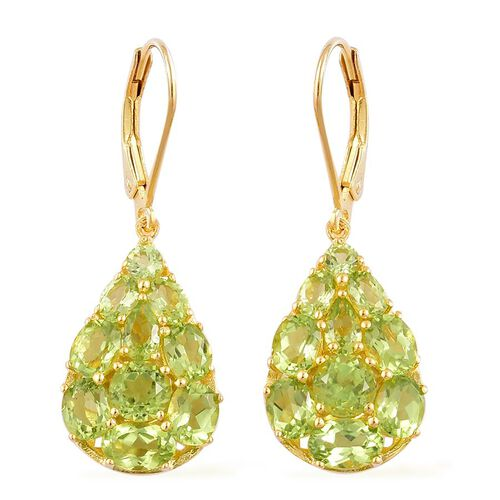 AA Hebei Peridot (Rnd) Lever Back Earrings in Yellow Gold Overlay Sterling Silver 6.500 Ct.