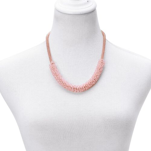 Simulated Pink Sapphire Mesh Chain Necklace (Size 20 with 2 inch Extender) in Rose Gold Tone