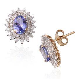 14K Y Gold AAA Tanzanite (Ovl), Diamond Stud Earrings (with Push Back) 2.250 Ct.