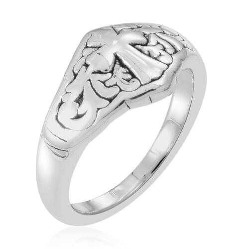 Statement Collection Sterling Silver Cross and Filigree Ring, Silver wt 4.23 Gms.
