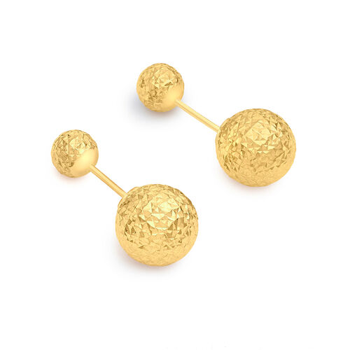 9K Yellow Gold 6MM and 10MM Diamond Cut Ball Frock Earrings (with Push Back)