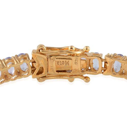 AA Tanzanite (Ovl), Diamond Bracelet in 14K Gold Overlay Sterling Silver (Size 7) 11.580 Ct.