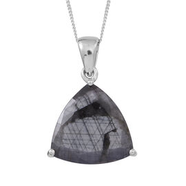 Natural Silver Sapphire (Trl) Pendant With Chain in Rhodium Plated Sterling Silver 15.000 Ct.