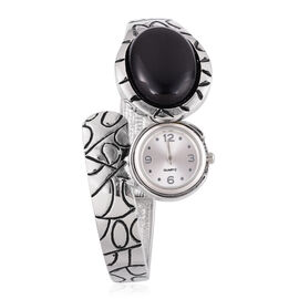 Black Onyx Bangle Watch in Silver Tone 30.000 Ct.