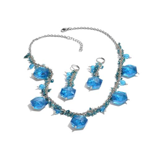 Jewels of India Malgache Neon Apatite, Glass Necklace (Size 20) and Lever Back Earrings in Silver Tone 179.530 Ct.