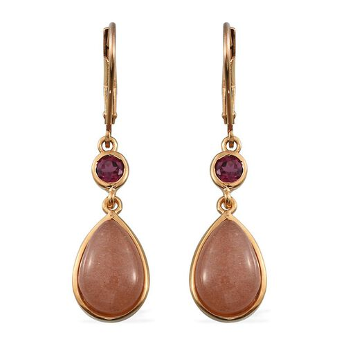 Morogoro Peach Sunstone (Pear), Rhodolite Garnet Lever Back Earrings in 14K Gold Overlay Sterling Silver 7.250 Ct.