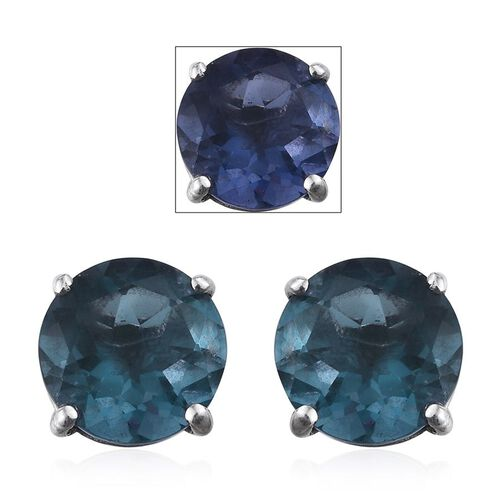 Colour Change Fluorite (Rnd) Stud Earrings in Platinum Overlay Sterling Silver 4.250 Ct.