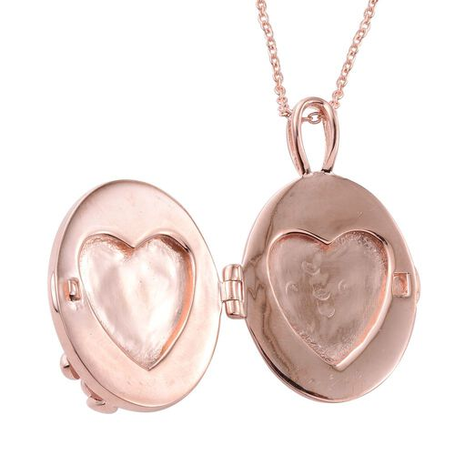 KIMBERLEY Rose Quartz (Ovl), Natural Cambodian Zircon Leaves Locket Pendant with Chain in Rose Gold Overlay Sterling Silver 35.050 Ct.