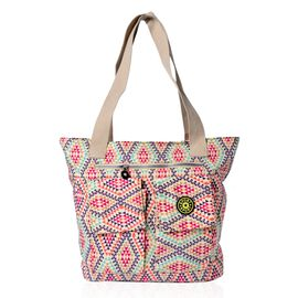 Designer Inspired Beige and Multi Colour Diamond Pattern Hand Bag With External Pocket (Size 40x32x11 Cm)