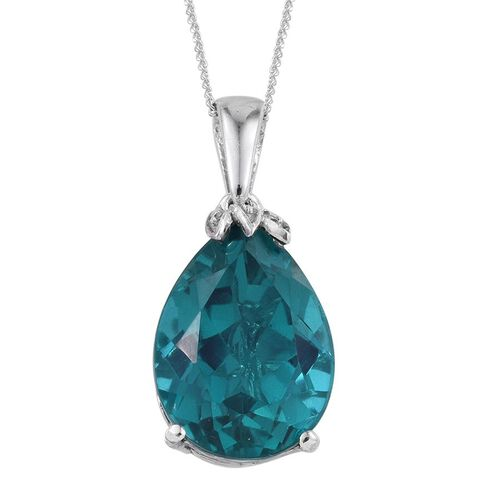 Capri Blue Quartz (Pear) Solitaire Pendant With Chain in Platinum Overlay Sterling Silver 8.750 Ct.