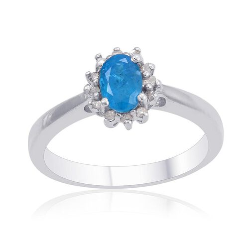 Malgache Neon Apatite (Ovl), Diamond Ring in Platinum Overlay Sterling Silver 0.500 Ct.