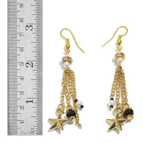 Star and Pearl Charm Black Colour Cotton Lace Brass Bracelet (Size 7.5 with 2 inch Extender) and Hook Earrings