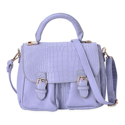 Croc Embossed Light Grey Colour Crossbody Bag With Adjustable and Removable Shoulder Strap (Size 24x19x14 Cm)