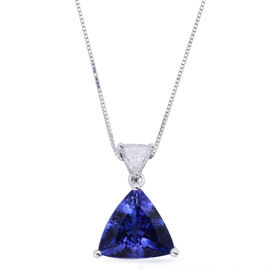 ILIANA 18K W Gold AAA Tanzanite (Trl 2.50 Ct), Diamond Pendant With Chain 2.750 Ct.