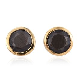 Natural Zawadi Golden Sheen Sapphire (Rnd) Stud Earrings (with Push Back) in 14K Gold Overlay Sterling Silver 2.000 Ct.