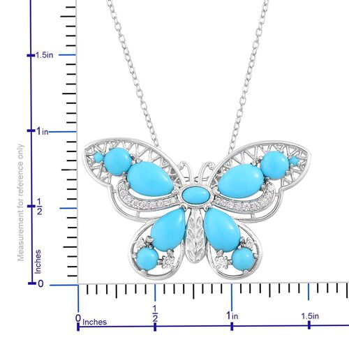 Designer Inspired - AAA Arizona Sleeping Beauty Turquoise (Pear), White Zircon Butterfly Pendant With Chain (Size 18) in Rhodium and Platinum Overlay Sterling Silver 5.560 Ct.