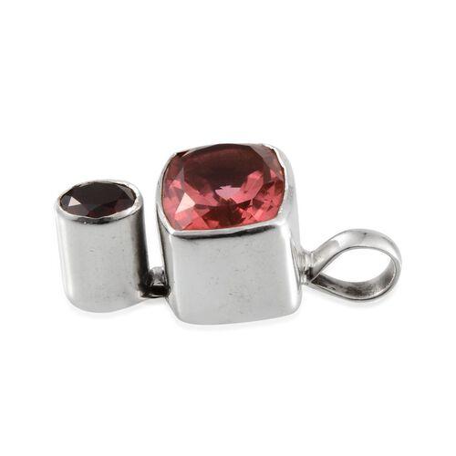 Padparadscha Quartz (Cush 16.42 Ct), Mozambique Garnet Pendant in Sterling Silver 18.610 Ct.