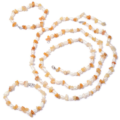 Yellow Quartzite and Fresh Water White Pearl Necklace (Size 22) and Bracelet (Size 7.50) 38.002 Ct.