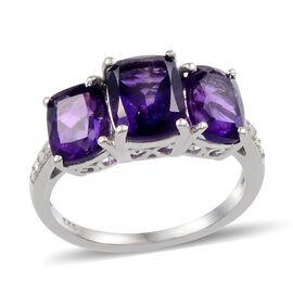 Lusaka Amethyst (Cush 1.75 Ct), Diamond Ring in Platinum Overlay Sterling Silver 4.400 Ct.