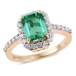 ILIANA 18K Yellow Gold 2.14 Carat AAA Boyaca Colombian Emerald Octagon Ring With Diamond SI G-H