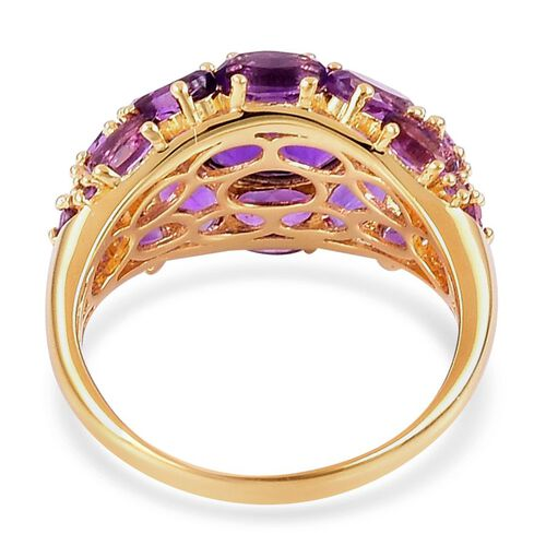 AA Lusaka Amethyst (Ovl 2.40 Ct) Ring in Yellow Gold Overlay Sterling Silver 7.360 Ct.