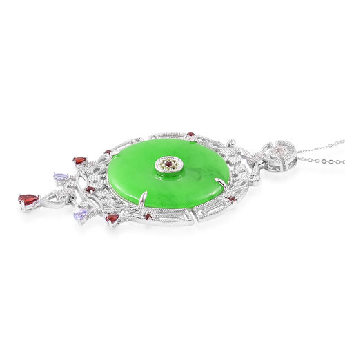 Green Jade (Rnd), Mozambique Garnet, Tanzanite, Hebei Peridot and White Zircon Pendant With Chain in Rhodium and Platinum Overlay Sterling Silver 58.170 Ct.
