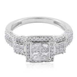 New York Close Out Deal 9K W Gold Diamond (Princess Cut) Ring 1.000 Ct.
