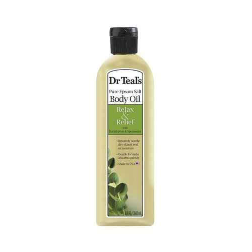 Dr Teals Pure Epsom Salt Body Oil Relax and Relief with Eucalyptus and Spearmint  260 ml