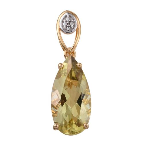 Natural Ouro Verde Quartz (Pear) Solitaire Pendant in 14K Yellow Gold Overlay Sterling Silver 4.000 Ct.