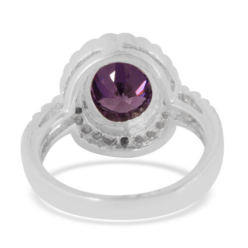 AAA Simulated Diamond (Ovl 4.25 Ct) Ring in Sterling Silver 5.040 Ct.