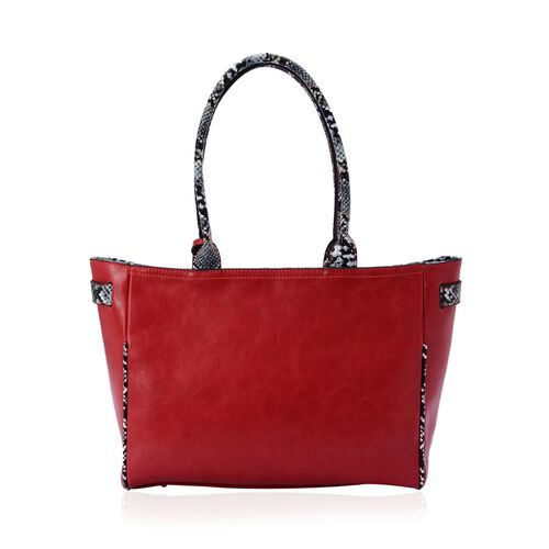 Snake Skin Pattern Red Colour Tote Bag (Size 42x26x9 Cm)
