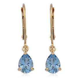 9K Y Gold AAA Santa Maria Aquamarine (Pear) Lever Back Earrings 1.000 Ct.