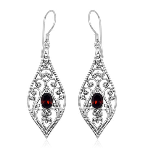 Royal Bali Collection Mozambique Garnet (Ovl) Hook Earrings in Sterling Silver 2.010 Ct.