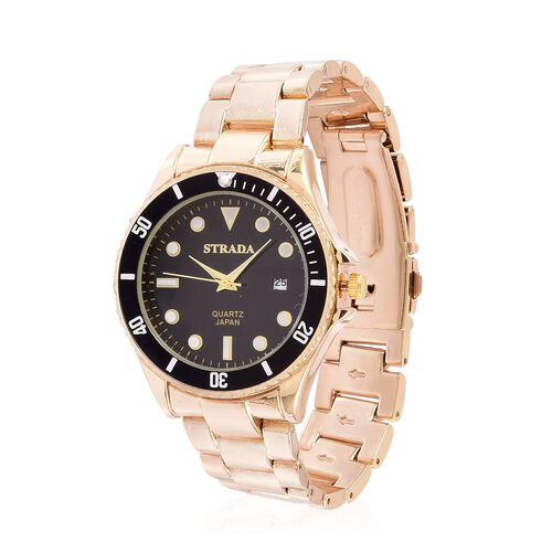 STRADA Japanese Movement Black Dial Water Resistant Watch in Yellow Gold Tone with Stainless Steel Back