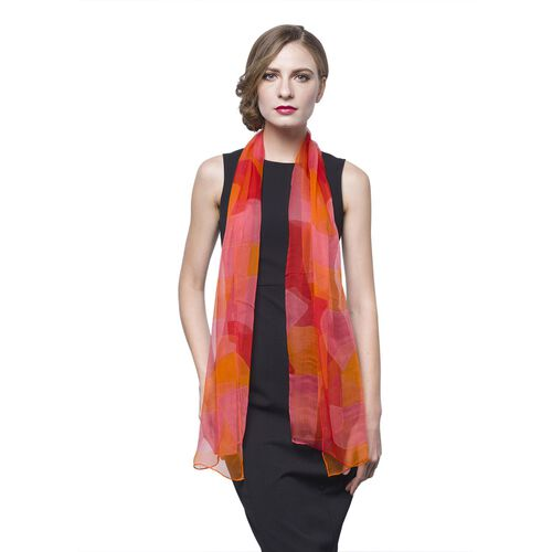 40% Mulberry Silk Orange, Red and Pink Colour Scarf (Size 160x65 Cm)