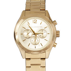 FRENCH CONNECTION Three Eyes Chronograph Ladies Mayfair Bracelet Watch in Gold Tone Strap and Stainless Steel