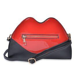 Designer Inspired Lip Design Red and Black Colour Crossbody Bag (Size 23x15x6 Cm)