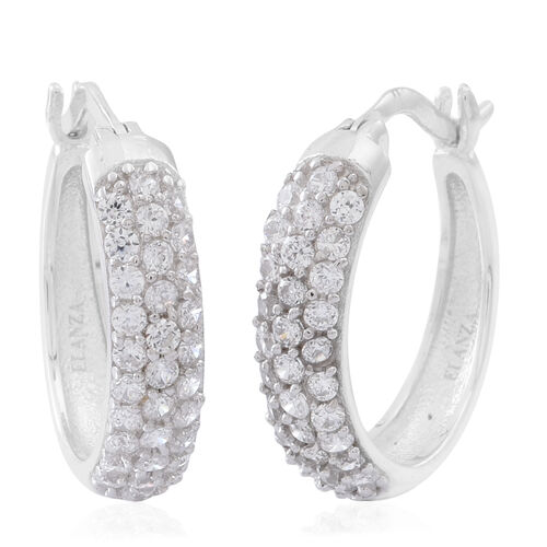ELANZA AAA Simulated Diamond (Rnd) Hoop Earrings (with Clasp) in Rhodium Plated Sterling Silver