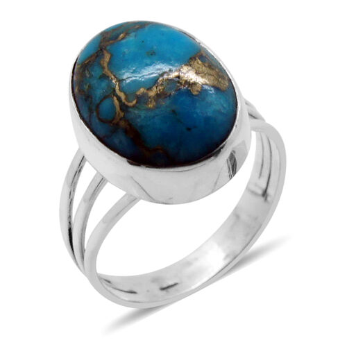 Royal Bali Collection Mojave Blue Turquoise (Ovl) Solitaire Ring in Sterling Silver 7.340 Ct.
