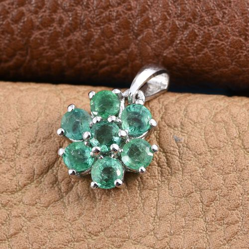 Brazilian Emerald (Rnd) 7 Stone Floral Pendant in Platinum Overlay Sterling Silver 1.000 Ct.