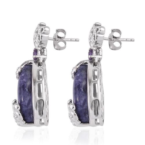 GP Purple Opal (Pear), Amethyst and Kanchanaburi Blue Sapphire Earrings (with Push Back) in Platinum Overlay Sterling Silver 15.250 Ct.