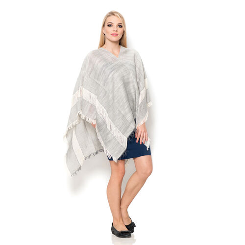 100% Cotton Grey and Off White Colour Kimono (Size 110x75 Cm)